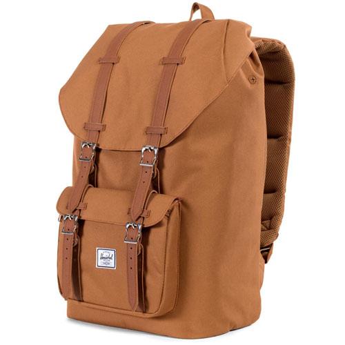 Рюкзак Herschel Little America Backpack кремовыйРюкзаки<br>Рюкзак Herschel Little America Backpack - настоящий бестселлер!<br><br>Цвет товара: Коричневый<br>Материал: Полиэстер, эко-кожа