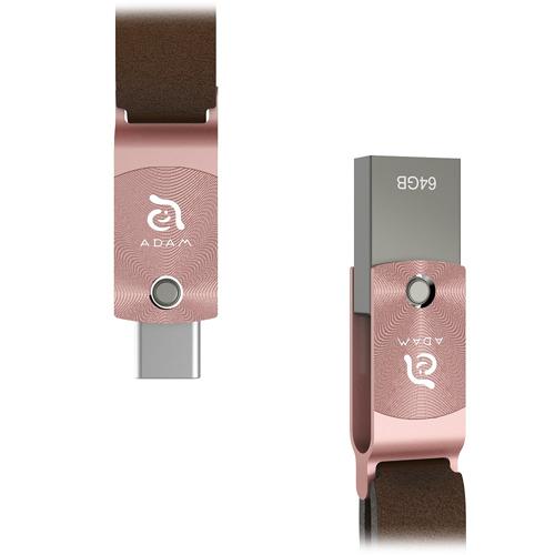 Флеш-накопитель ADAM elements ROMA 64GB USB Type-C OTG розовое золотоФлешки для смартфонов<br>ADAM elements ROMA — компактный и стильный флеш-накопитель с двойным интерфейсом: USB Type-C и USB 3.1 Type-A<br><br>Цвет товара: Розовое золото<br>Материал: Сплав цинка, алюминий, натуральная кожа<br>Модификация: 64 Гб