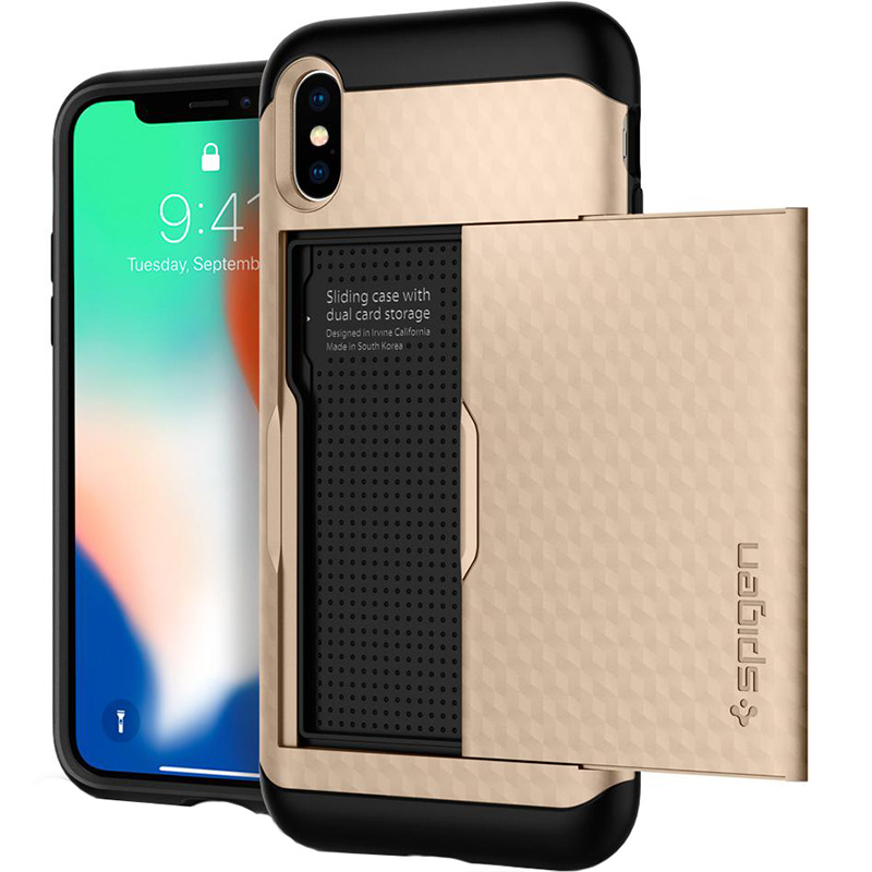Чехол Spigen Crystal Wallet для iPhone X золотой шампань (057CS22153)Чехлы для iPhone X<br>Spigen Crystal Wallet — это два прочнейших слоя защиты от повреждений!<br><br>Цвет товара: Золотой<br>Материал: Термопластичный полиуретан, поликарбонат<br>Модификация: iPhone 5.8