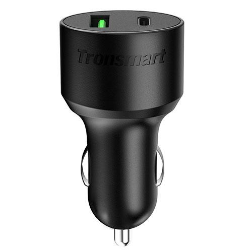 Автомобильное зарядное устройство (автозарядка) Tronsmart Car Charger Dual USB/Type-C (C2PTU) чёрноеАвтозарядки<br><br><br>Цвет товара: Чёрный<br>Материал: Пластик