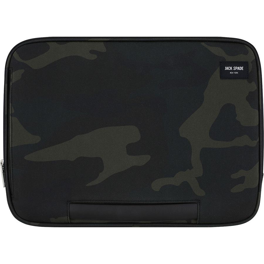 Чехол Jack Spade Clutch Sleeve для MacBook 13 камуфляжMacBook<br>Jack Spade Clutch Sleeve защитит ваш ноутбук, куда бы вы ни отправились!<br><br>Цвет: Зелёный<br>Материал: Хлопок, полиуретан
