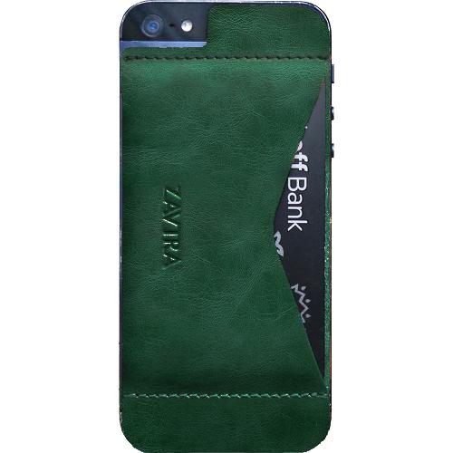 Чехол-кошелёк ZAVTRA для iPhone 5/5s/SE зеленыйЧехлы для iPhone 5s/SE<br>Элегантность и минимализм<br><br>Цвет товара: Зелёный<br>Материал: Натуральная кожа, пластик