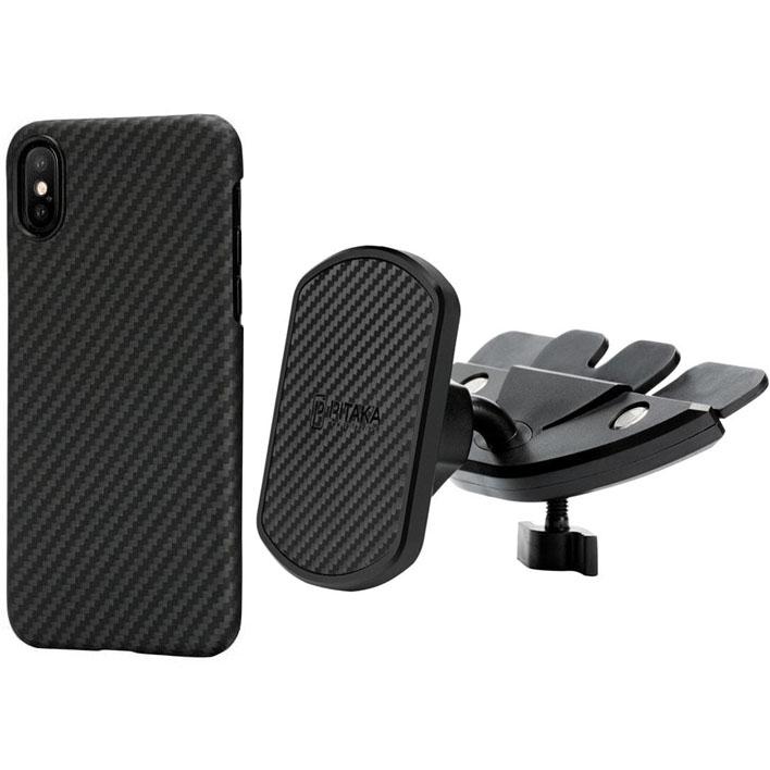 Комплект PITAKA Car Kit (автодержатель в CD-слот + чехол для iPhone X)Автодержатели<br>С комплектом PITAKA Car Kit ваши поездки станут максимально комфортными!<br><br>Цвет товара: Чёрный<br>Материал: Пластик, углеродное волокно