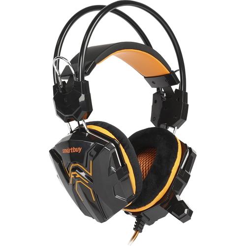 Игровая гарнитура Smartbuy Rush Cobra чёрный/оранжевый (SBHG-1100)Полноразмерные наушники<br>Игровая гарнитура Smartbuy Rush Cobra чёрный/оранжевый (SBHG-1100)<br><br>Цвет товара: Оранжевый<br>Материал: Пластик, металл, велюр