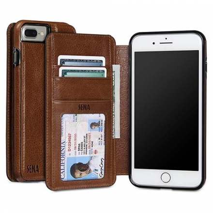 Чехол Sena Wallet Book для iPhone 7 Plus (Айфон 7 Плюс) коричневыйЧехлы для iPhone 7 Plus<br>Чехол Sena Wallet Book для iPhone 7 Plus – оригинальный и стильный чехол, в котором собрано всё необходимое.<br><br>Цвет товара: Коричневый<br>Материал: Натуральная кожа, поликарбонат