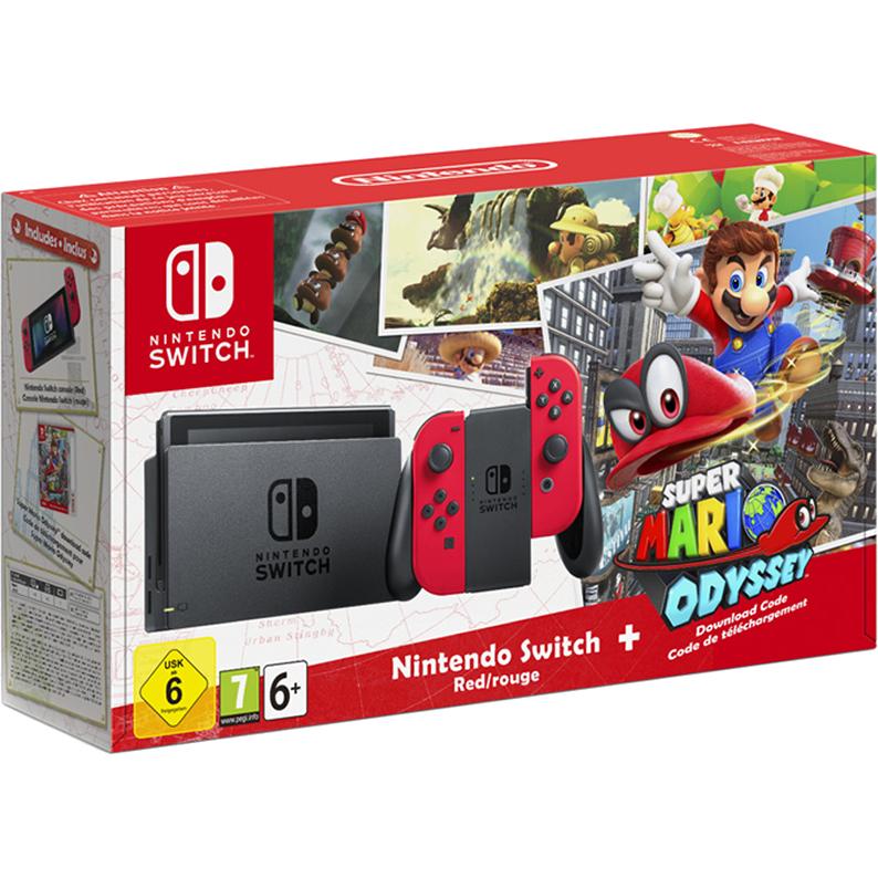 Комплект Nintendo Switch красная + игра Super Mario Odyssey