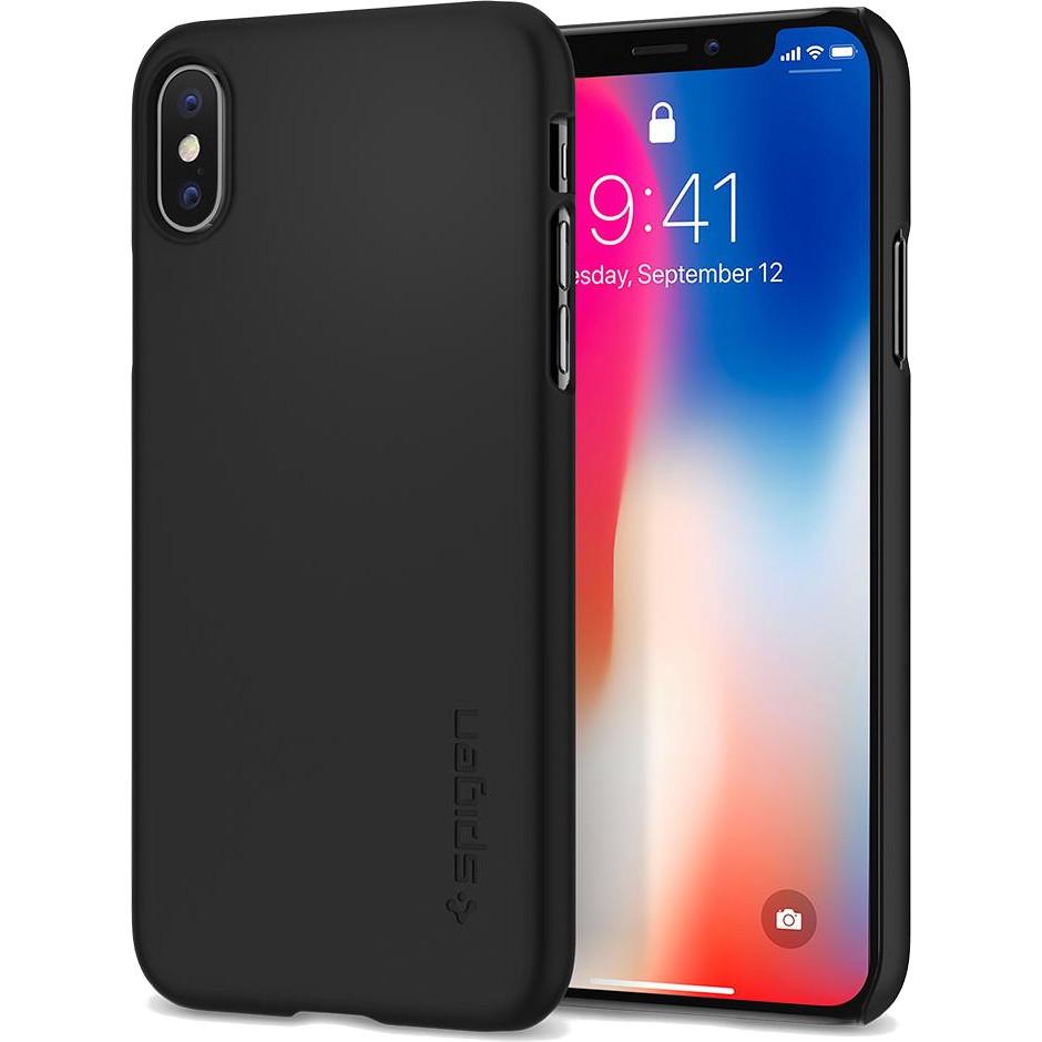 Чехол Spigen Thin Fit для iPhone X матовый чёрный (057CS22108)Чехлы для iPhone X<br>Spigen Thin Fit — это чехол с лёгким и свежим дизайном, который создан специально для iPhone X!<br><br>Цвет товара: Чёрный<br>Материал: Поликарбонат