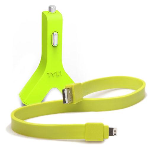 Автомобильное зарядное устройство (автозарядка) Tylt Y-charge 2 USB 4.2 А с ленточным кабелем Tylt Syncable Lightning-USB зелёноеАвтозарядки<br>Автозарядка Tylt Y-charge с ленточным кабелем зел<br><br>Цвет товара: Зелёный<br>Материал: Пластик, силикон, металл