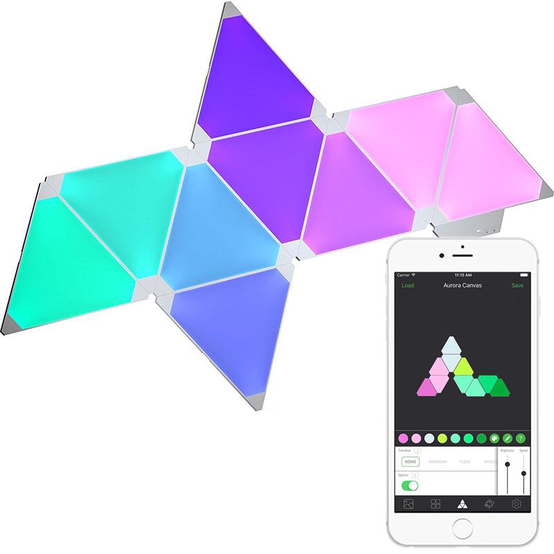 Умная система освещения Nanoleaf Aurora Smarter Kit (9 панелей)Умные лампы<br>Благодаря этой системе вы сможете украсить любое помещение!<br><br>Цвет товара: Белый<br>Материал: Акрил, пластик<br>Модификация: 9 панелей