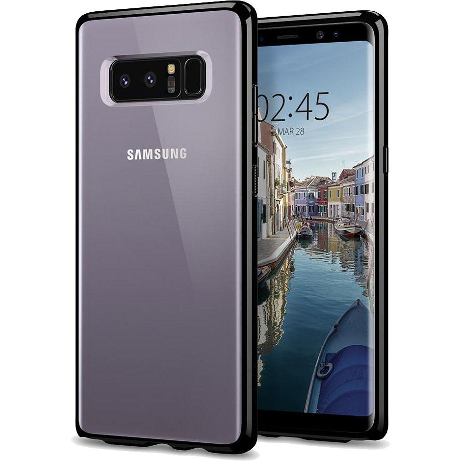Чехол Spigen Case Ultra Hybrid для Samsung Galaxy Note 8 чёрный Midnight (587CS22065)Чехлы для Samsung Galaxy Note<br>Гибридные технологии на страже от неприятностей для Samsung Galaxy Note 8.<br><br>Цвет товара: Чёрный<br>Материал: Поликарбонат, термопластичный полиуретан