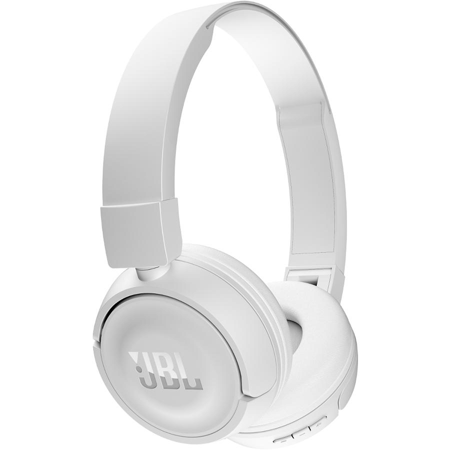 Наушники JBL T450BT белыеНакладные наушники<br>С JBL T450BT вы сможете слушать любимую музыку всегда и везде!<br><br>Цвет товара: Белый<br>Материал: Пластик, полиуретан