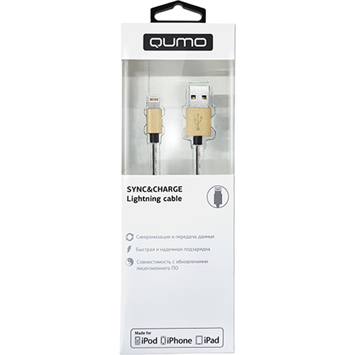 Кабель Qumo Lightning-USB (1 метр) MFI со стальной пружиной золотойКабели Lightning<br>Стальная пружина предотвращает чрезмерное заламывание или загибание кабеля, тем самым уберегая его от повреждений именно у коннекторов.<br><br>Цвет товара: Золотой<br>Материал: Металл, пластик