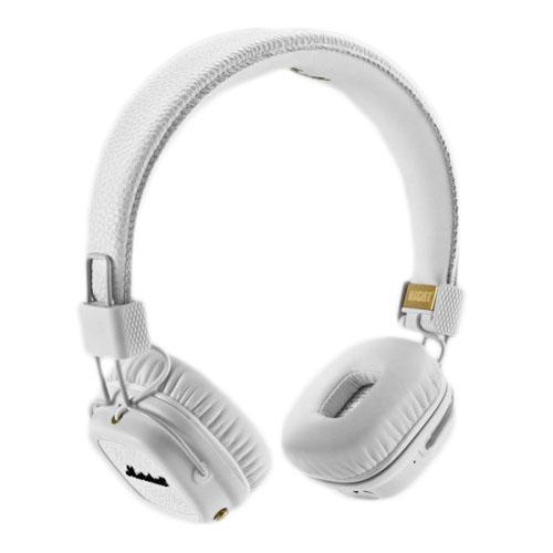 Наушники Marshall Major II Bluetooth белыеНакладные наушники<br>Легендарные наушники теперь с Bluetooth!<br><br>Цвет товара: Белый<br>Материал: Металл, натуральная кожа, пластик