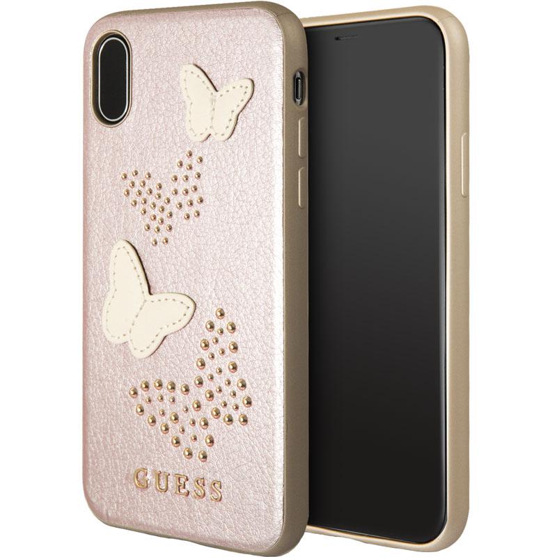 Чехол Guess Butterflies Hard PU для iPhone X розовое золотоЧехлы для iPhone X<br>Привлекательный и прочный чехол для iPhone X от всемирно известного дома моды Guess.<br><br>Цвет товара: Розовое золото<br>Материал: Экокожа, термопластичный полиуретан