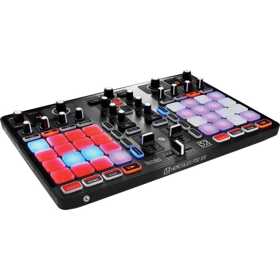 Микшерный пульт Hercules P32 DJ чёрныйОборудование для звукозаписи<br>Hercules P32 DJ — это уникальный полнофункциональный пульт, объединяющий возможности микширования и сценического перфоманса.<br><br>Цвет товара: Чёрный<br>Материал: Пластик, металл