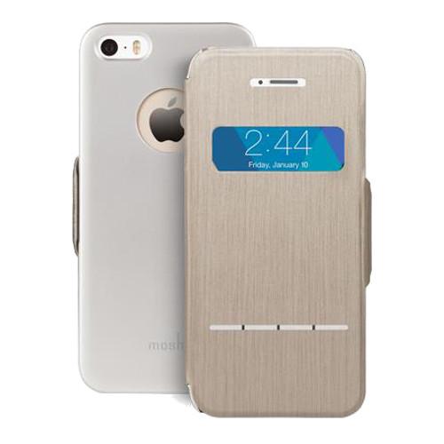 Чехол Moshi SenseCover для iPhone 5/5S/SE бежевый (Brushed Titanium)Чехлы для iPhone 5/5S/SE<br>Moshi SenseCover — безупречное слияние защиты и свежих инженерных идей. Чехол-книжка с сенсорным покрытием позволяет использовать многие функции...<br><br>Цвет: Бежевый<br>Материал: Поликарбонат, полиуретановая кожа