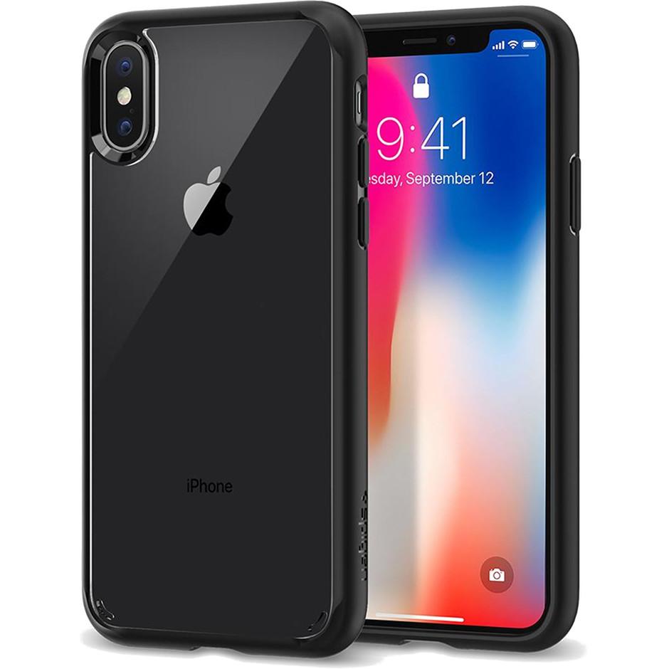 Чехол Spigen Case Ultra Hybrid для iPhone X матовый чёрный (057CS22129)Чехлы для iPhone X<br>Кристальная ясность и два слоя защиты для вашего iPhone X.<br><br>Цвет товара: Чёрный<br>Материал: Термопластичный полиуретан, поликарбонат