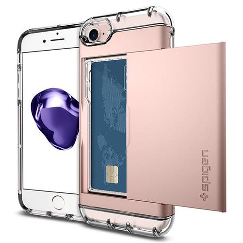 Чехол Spigen Crystal Wallet для iPhone 7 (Айфон 7) розовое золото (SGP-042CS20982)Чехлы для iPhone 7/7 Plus<br><br><br>Цвет товара: Розовое золото<br>Материал: Поликарбонат, термопластичный полиуретан (ТПУ)