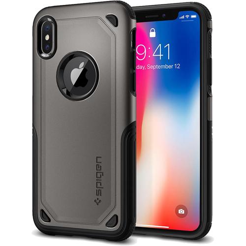 Чехол Spigen Hybrid Armor для iPhone X тёмно-серый (057CS22350)Чехлы для iPhone X<br>Испытайте непревзойденную защиту чехла Hybrid Armor от Spigen для iPhone X!<br><br>Цвет товара: Серый<br>Материал: Поликарбонат, термопластичный полиуретан