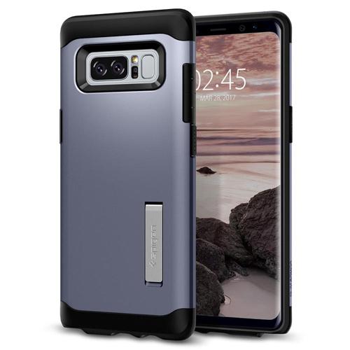 Чехол Spigen Slim Armor для Samsung Galaxy Note 8 (Orchid Gray) серый (587CS21836)Чехлы для Samsung Galaxy Note<br>Spigen Slim Armor — это два прочнейших слоя защиты от повреждений для вашего смартфона.<br><br>Цвет товара: Серый<br>Материал: Термопластичный полиуретан, поликарбонат