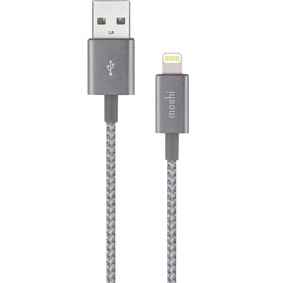 Кабель Moshi Integra Lightning to USB-A (1,2 метра) серыйКабели Lightning<br>Moshi Integra — невероятно прочный кабель!<br><br>Цвет товара: Серый<br>Материал: Нейлон, металл, кевлар