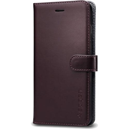 Чехол Spigen Valentinus для iPhone 7 Plus (Айфон 7 Plus) темно-коричневый (SGP-043CS20985)Чехлы для iPhone 7 Plus<br><br><br>Цвет товара: Коричневый<br>Материал: Поликарбонат, полиуретановая кожа