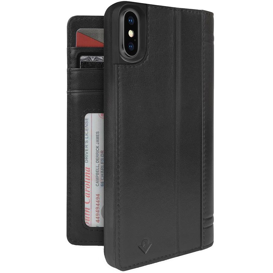 Чехол Twelve South Journal для iPhone X чёрныйЧехлы для iPhone X<br>Twelve South Journal — отличный способ защитить смартфон и взять с собой немного денег без бумажника.<br><br>Цвет: Чёрный<br>Материал: Поликарбонат, эко-кожа