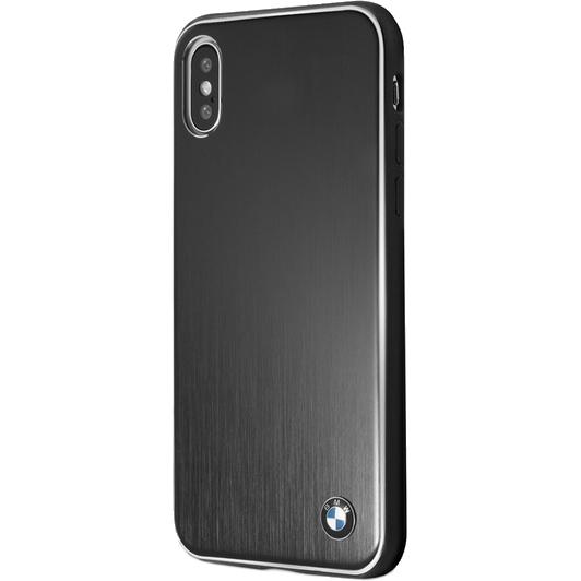 Чехол BMW Signature Brushed Aluminium Hard для iPhone X чёрныйЧехлы для iPhone X<br>Металлический паттерн и скромный логотип смотрятся очень привлекательно и неброско, при этом передавая дух мощных авто.<br><br>Цвет товара: Чёрный<br>Материал: Алюминий, микрофибра, поликарбонат