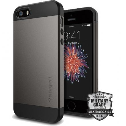 Чехол Spigen Slim Armor для iPhone SE тёмный металик (SGP-041CS20175)Чехлы для iPhone 5s/SE<br>Чехол Spigen Slim Armor для iPhone SE тёмный металик (SGP-041CS20175)<br><br>Цвет товара: Серый<br>Материал: Поликарбонат, полиуретан