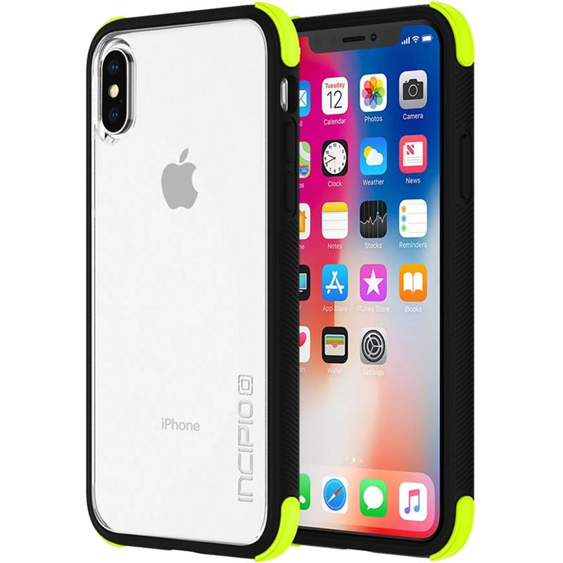 Чехол Incipio Reprieve Sport для iPhone X прозрачный/чёрный/салатовыйЧехлы для iPhone X<br>Двухслойный чехол состоит из поликарбонатной, жёсткой накладки и гибкого, абсорбирующего бампера с усиленными углами, что повышает его уровень защиты до военного класса.<br><br>Цвет товара: Разноцветный<br>Материал: Поликарбонат, термопластичный полиуретан