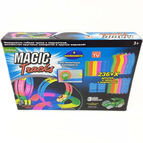 Светящийся конструктор Magic Tracks (236 деталей)3D пазлы и конструкторы<br>Играть с Magic Tracks вам и вашим детям будет невероятно весело!<br><br>Цвет товара: Разноцветный<br>Материал: Пластик<br>Модификация: 236