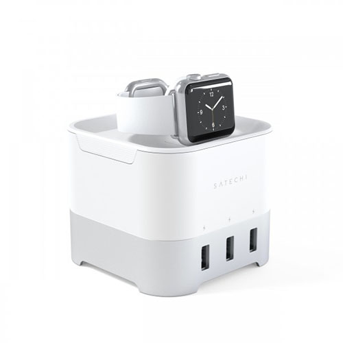 Док-станция Satechi Smart Charging Stand для Apple Watch 1 / 2 / 3, Fitbit Blaze и смартфонов серебристаяДокстанции Apple Watch<br>Satechi Smart Charging Stand - это док-станция с превосходной функциональностью.<br><br>Цвет: Серебристый<br>Материал: Металл, пластик