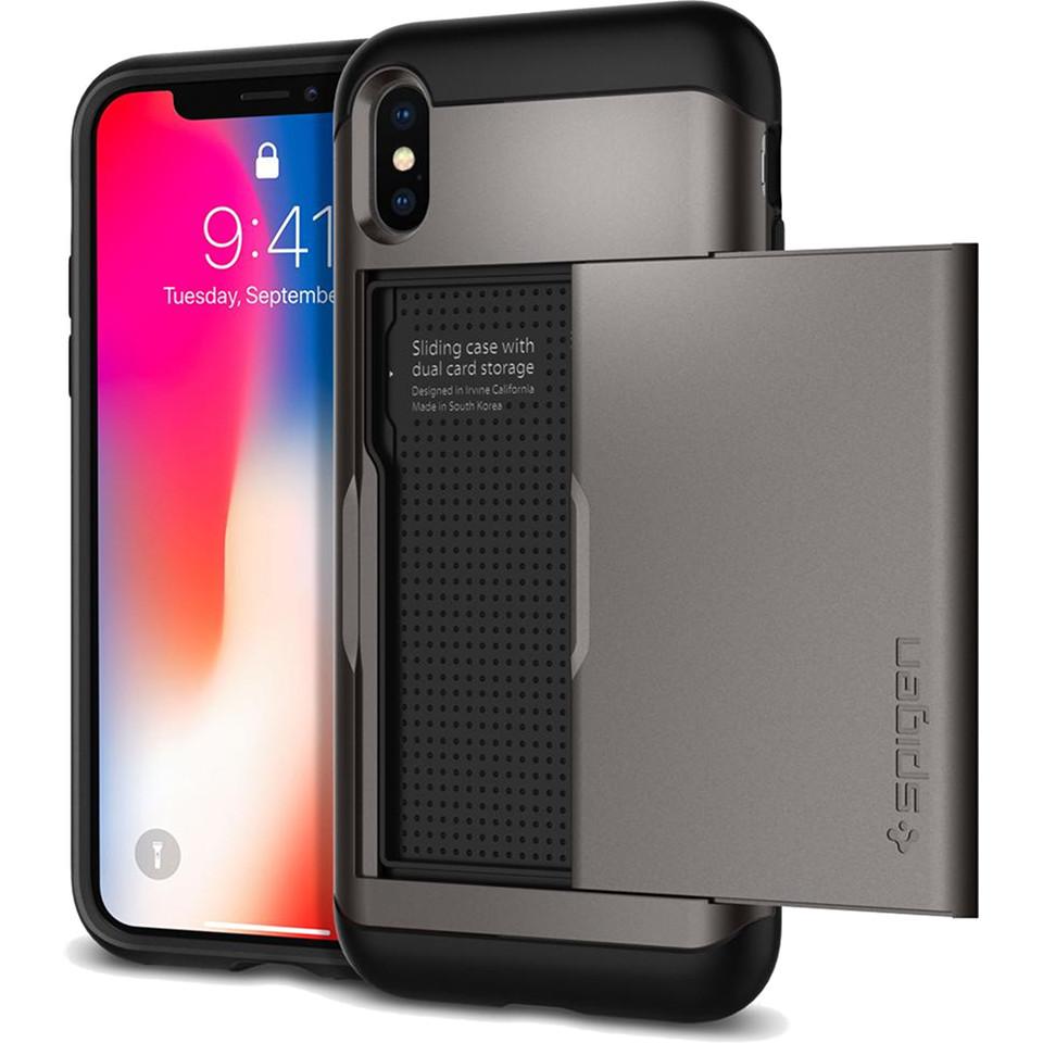 Чехол Spigen Case Slim Armor CS для iPhone X стальной (057CS22156)Чехлы для iPhone X<br>Spigen предлагает вам отличный аксессуар для вашего iPhone X — защитный чехол и бумажник Slim Armor CS.<br><br>Цвет: Серый<br>Материал: Термопластичный полиуретан, поликарбонат