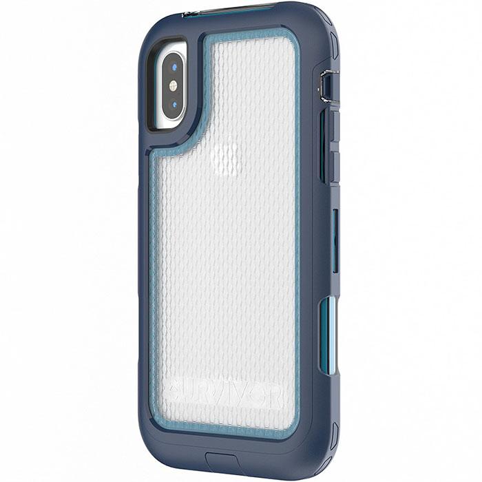 Чехол Griffin Survivor Extreme для iPhone X синий/голубойЧехлы для iPhone X<br>Griffin Survivor Extreme предлагает экстремальную защиту вашему iPhone X!<br><br>Цвет товара: Синий<br>Материал: Поликарбонат высокой прочности, полиуретан повышенной твёрдости, силикон