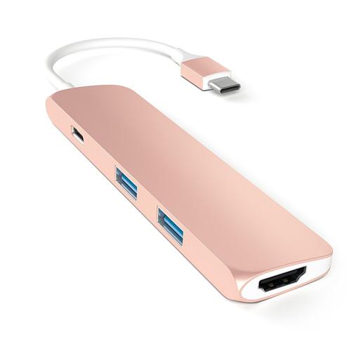 Переходник Satechi Slim Aluminum Type-C Multi-Port Adapter (4K HDMI, сквозной порт питания, 2х USB) розовое золото (ST-CMAR)Хабы - разветвители USB<br>Переходник Satechi Slim Aluminum Type-C Multi-Port Adapter позволяет подключать к MacBook c портом USB-C одновременно до двух устройств со стандартным USB-разъемом.<br><br>Цвет товара: Розовое золото<br>Материал: Металл
