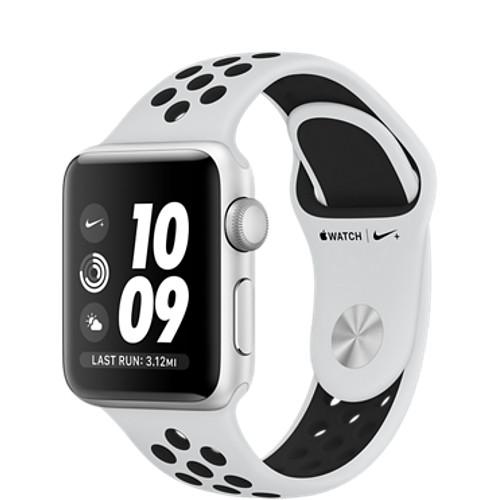 Умные часы Apple Watch Series 3 38мм, серебристый алюминий, спортивный ремешок Nike цвета «чистая платина/чёрный»Умные часы<br>Apple Watch S3 38mm Silver Aluminum Case, White/Black Nike Sport Band<br><br>Цвет товара: Белый<br>Материал: Алюминий, фторэластомер, задняя панель из композитного материала, стекло Ion-X повышенной прочности<br>Цвета корпуса: серебристый<br>Модификация: 38 мм