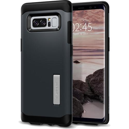Чехол Spigen Slim Armor для Samsung Galaxy Note 8 металлик (587CS21834)Чехлы для Samsung Galaxy Note<br>Spigen Slim Armor — это два прочнейших слоя защиты от повреждений для вашего смартфона.<br><br>Цвет товара: Серый<br>Материал: Термопластичный полиуретан, поликарбонат