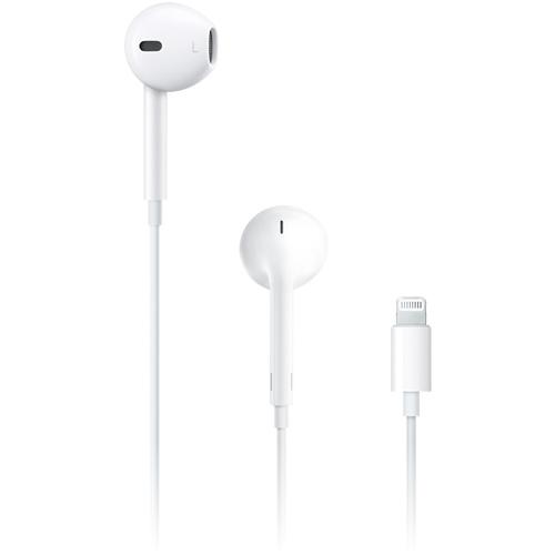 Наушники Apple EarPods с разъёмом LightningВнутриканальные наушники<br>Наушники Apple EarPods с разъёмом Lightning<br><br>Цвет товара: Белый<br>Материал: Пластик, силикон
