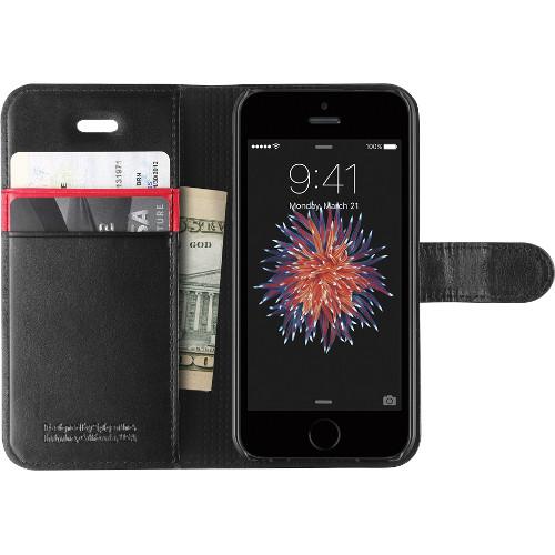 Чехол Spigen Wallet S для iPhone 5/5S/SE чёрный (SGP-041CS20191)Чехлы для iPhone 5s/SE<br>Spigen Wallet S — это отличный способ защитить смартфон!<br><br>Цвет товара: Чёрный<br>Материал: Пластик, кожа
