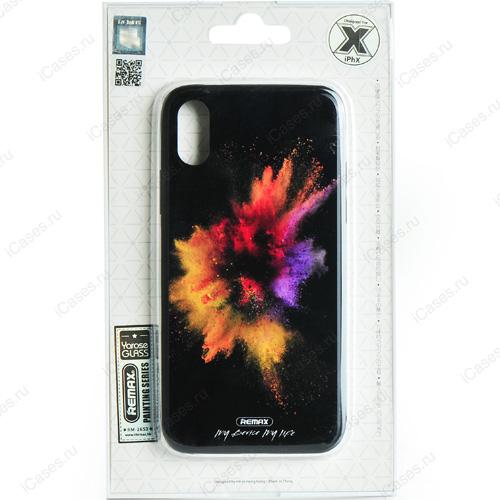 Чехол Remax Painting Series для iPhone X (Брызги)Чехлы для iPhone X<br>Оригинальный чехол Remax, без сомнения, является превосходной комбинацией стиля и надежности!<br><br>Цвет: Чёрный<br>Материал: Пластик