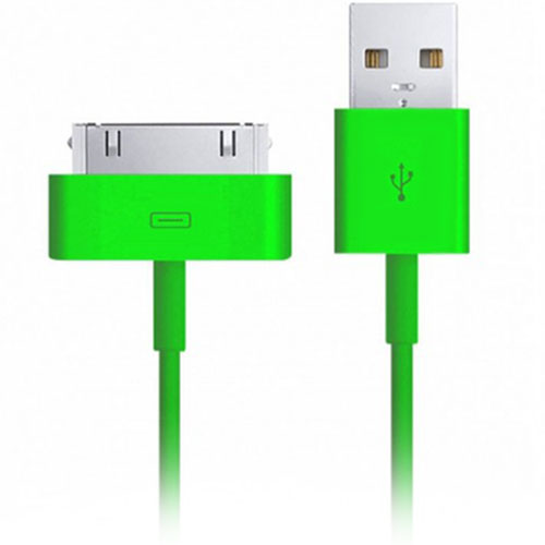 Кабель Smartbuy USB - 30-pin для Apple iPhone 4/4S (1,2 метра) зелёный