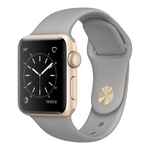 Часы Apple Watch Series 2 38 мм, золотистый алминий, спортивный ремешок «серый камень»Умные часы<br>Часы Apple Watch Series 2 38 мм, золотистый алминий, спортивный ремешок «серый камень»<br><br>Цвет товара: Серый<br>Материал: Золотистый алминий серии 7000 анодированный<br>Модификаци: 38 мм
