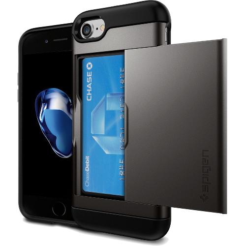 Чехол Spigen Slim Armor CS для iPhone 7/ iPhone 8 тёмный металлик (SGP-042CS20453)Чехлы для iPhone 7<br><br><br>Цвет товара: Серый<br>Материал: Поликарбонат, полиуретан