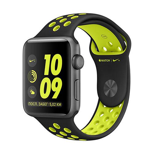 Умные часы Apple Watch Nike+ 38 мм, алюминий «серый космос», спортивный ремешок Nike «чёрный/салатовый»Умные часы<br>Apple Watch Nike+ — новейшие и одни из самых инновационных в мире часы!<br><br>Цвет товара: Серый космос<br>Модификация: 38 мм