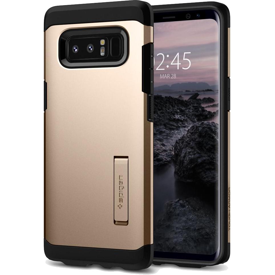 Чехол Spigen Tough Armor для Samsung Galaxy Note 8 золотистый (587CS22082)Чехлы для Samsung Galaxy Note<br>Spigen Tough Armor — это два прочнейших слоя защиты от повреждений для вашего смартфона.<br><br>Цвет товара: Золотой<br>Материал: Термопластичный полиуретан, поликарбонат