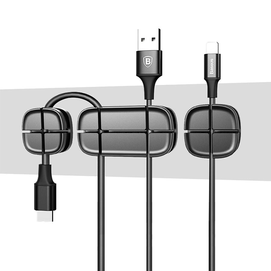 Организатор проводов Baseus Cross Peas Cable Clip чёрныйОрганайзеры проводов и гаджетов<br>Baseus Cross Peas Cable Clip - это компактный организатор проводов, который поможет Вам справиться с мотками кабелей на столе.<br><br>Цвет товара: Чёрный<br>Материал: Силикон