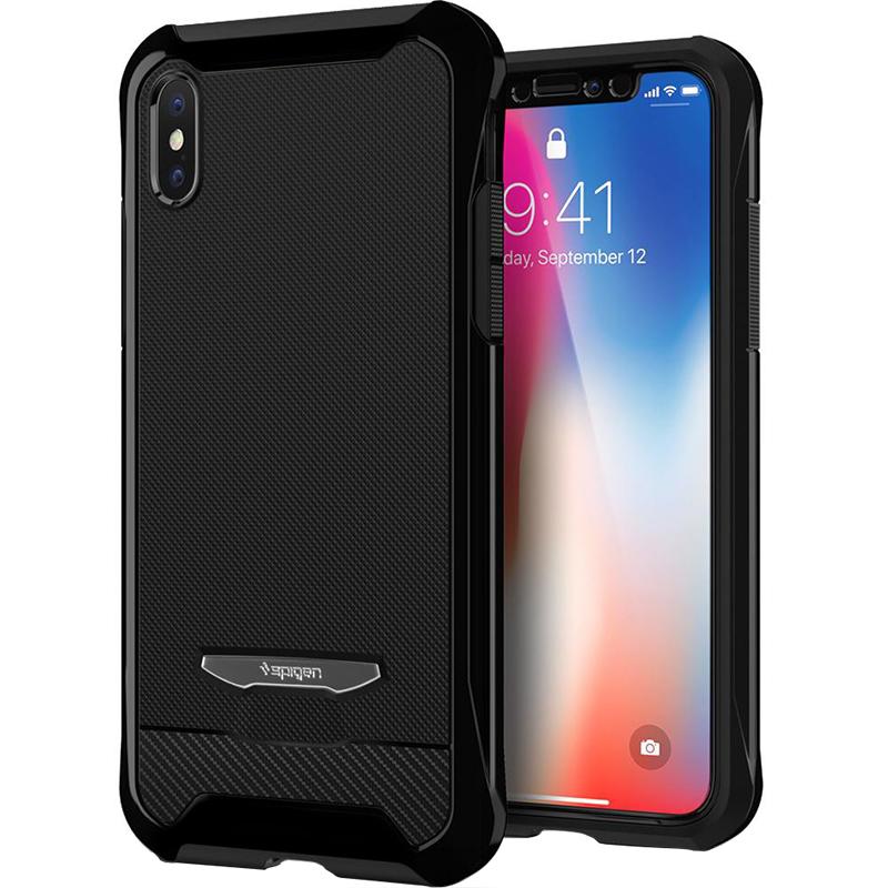 Чехол Spigen Reventon для iPhone X ультра-чёрный (057CS22650)Чехлы для iPhone X<br>Spigen Reventon защити ваш iPhone X со всех сторон!<br><br>Цвет: Чёрный оникс<br>Материал: Поликарбонат, полиуретан, стекло