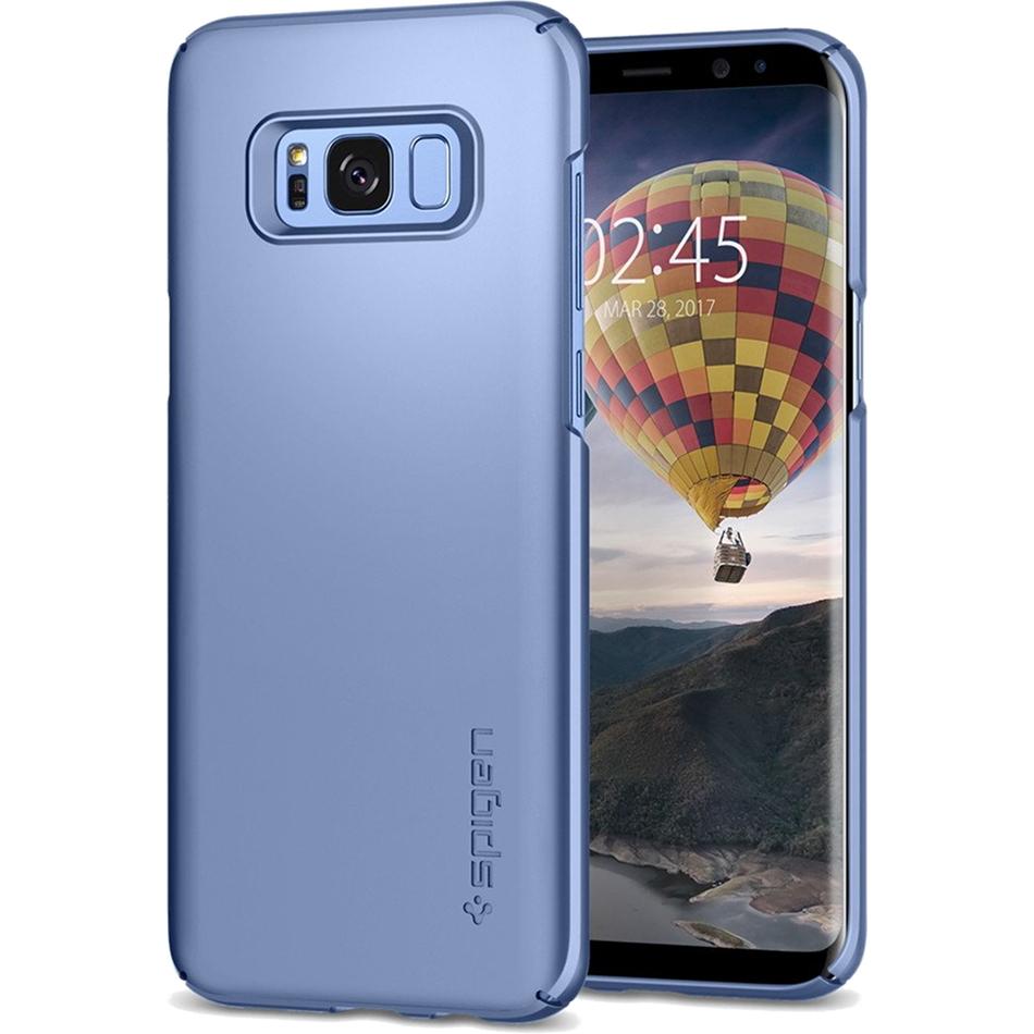 Чехол Spigen Thin Fit для Samsung Galaxy S8 голубой коралл (565CS21625)Чехлы для Samsung Galaxy S8/S8 Plus<br>Чехол Thin Fit создан специально для флагмана Samsung — Galaxy S8 — и, пожалуй, является самым тонким чехлом от Spigen!<br><br>Цвет товара: Голубой<br>Материал: Поликарбонат