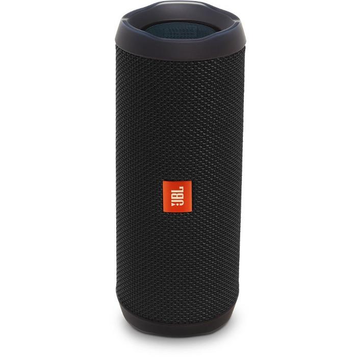 Портативная акустическая система JBL Flip 4 чёрнаяКолонки и акустика<br>Портативная и водонепроницаемая беспроводная акустическая система JBL Flip 4 с удивительно мощным звучанием и множеством полезных функций.<br><br>Цвет товара: Чёрный<br>Материал: Пластик, текстиль