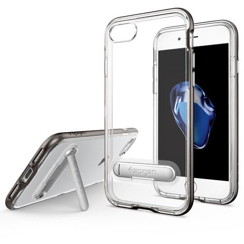 Чехол Spigen Crystal Hybrid для iPhone 7 (Айфон 7) тёмный металлик (SGP-042CS20459)Чехлы для iPhone 7<br><br><br>Цвет товара: Серый<br>Материал: Поликарбонат, полиуретан